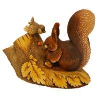 "Remeko / Decorative figurine ""Squirrel with a sparrow"", L30,5W17 H24cm"