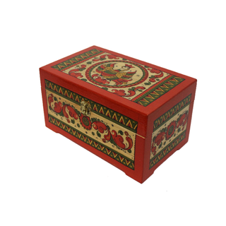 "The box is wooden ""Pyermogori painting"" carved from a single piece of wood, height of 10 cm"