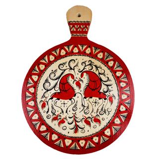"Board kitchen wooden round ""Mezenskaya painting. Two deer"" with handle"