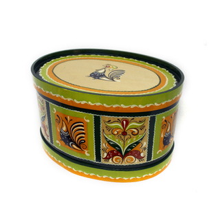 "Wooden box with lid ""green Rakulskaya painting"" oval 20.5 cm"
