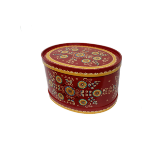 """Wooden box with lid """"Shenkurskiy red painted"""" oval 23.5 cm"""