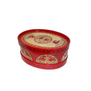 """Wooden box with a lid """"Mezen painting"""" oval beige with a pattern on the lid 12 cm"""
