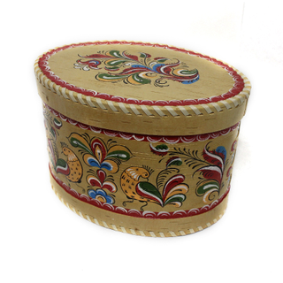 "Wooden box with lid ""Uftyuzhskaya painting"" oval 15 cm"