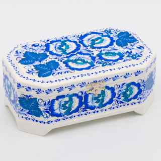 "Box ""Winter Hohloma"" octagonal wooden 170х100"