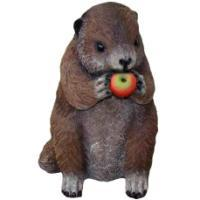 "Remeko / Ornamental garden figure ""Beaver with apples"" L17W22H28 cm"