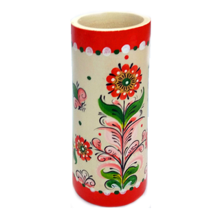 """Pencil holder wood """"Shenkurskiy red painted without a background"""""""