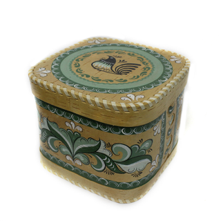 "Wooden box with lid ""green Rakulskaya painting"" square 15 cm"