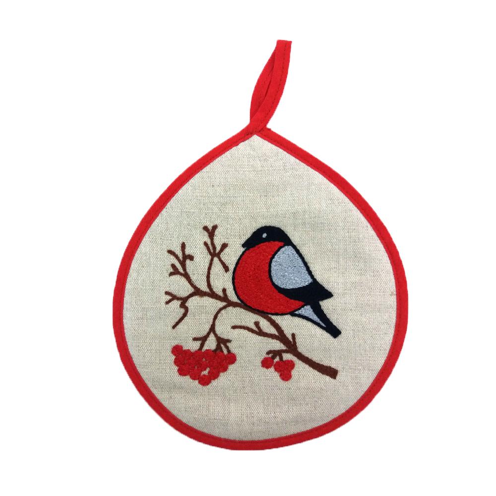 "Potholder ""bullfinch on a Rowan tree"""