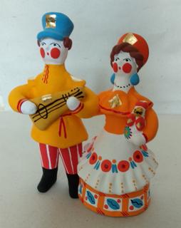 Dymkovo clay toy Cavalier with a balalaika and a lady