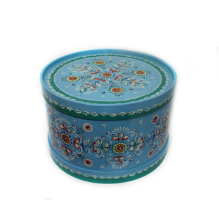 "Wooden box with lid ""Shenkurskiy blue painting"" round 21 cm"