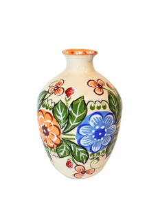 The vase is earthenware with painted