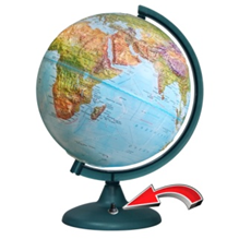 """Earth Globe """"Double Map"""" embossed with backlit battery (battery Not included!) NEW"""