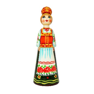 "Wooden doll ""Girl in a coloured apron."""