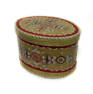 """Wooden box with lid """"Shenkurskiy red painted"""" oval 15 cm"""