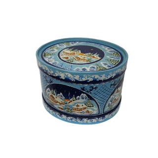 """Wooden box with lid """"Winter"""" oval 22 cm"""