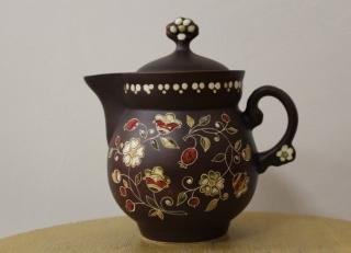 Ceramic coffee pot painted