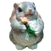 "Remeko / Garden decorative figure ""Bunny with a large flower"""