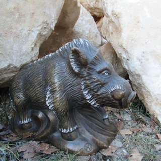 Sculpture Boar large hand-made stone carving