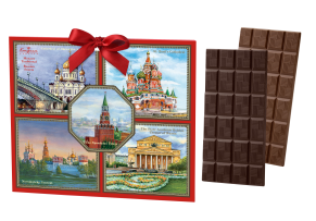 'Greeting card big' Moscow '- bitter and milk chocolate 120 g