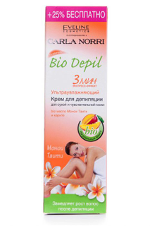 Ultra moisturizing depilatory cream for dry and sensitive skin Bio depil 3 min, Eveline, 125 ml