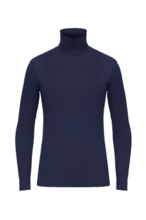 School jumper in dark blue with a high collar for a boy