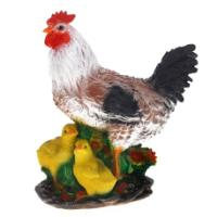 "Remeko / Ornamental garden figure ""Hen with chickens"", L16 W27.5 H34 cm"