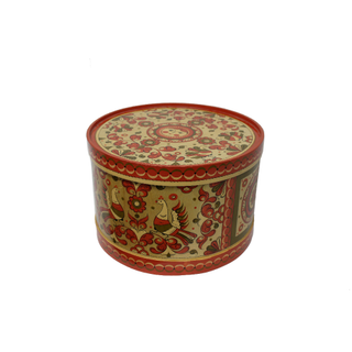 "Wooden box with lid ""Pyermogori painting"" round 23.5 cm"
