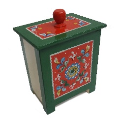 "Box wooden ""Shenkurskiy green painted"" 16 cm"