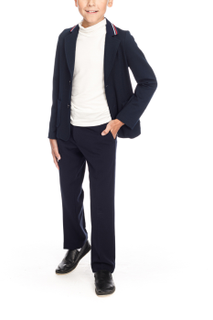 School classic pants dark blue straight cut for a boy
