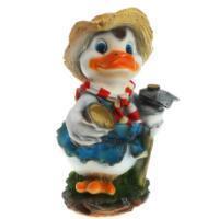 "Remeko / Ornamental garden figure ""Duck with a hoe"" L26W27H44 cm"