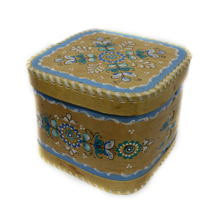 "Wooden box with lid ""Shenkurskiy blue painting"" square 15 cm"