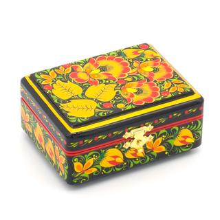 """The box """"Flowers"""" is wooden black 90х70"""