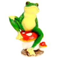 "Remeko / Ornamental garden figure ""Business frog on a fly agaric"", L28 W20 H43 cm"