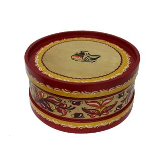 "Wooden box with lid ""red Rakulskaya painting"" round 12.5 cm"