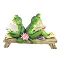 "Remeko / Decorative figure ""Two frogs with books on a bench"" L33W11H21"