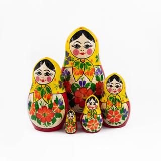 """Semenovskaya painting / Traditional matryoshka """"Grushenka"""", 5 dolls"""