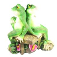 "Remeko / Decorative item ""Two frogs on a bench"", L18W39H37 cm"