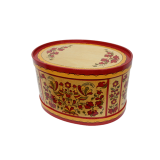 "Wooden box with lid ""Pyermogori painting"" oval 23.5 cm"