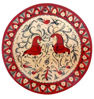 """Round wooden kitchen board """"Mezen painting. Two deers"""""""