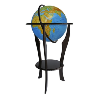 Physical globe with a diameter of 420 mm embossed on a wooden floor stand
