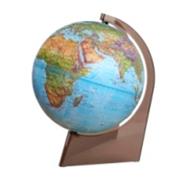 Earth Globe Geographical relief on a triangle