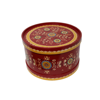 "Wooden box with lid ""Shenkurskiy red-painted"" round 17.5 cm"