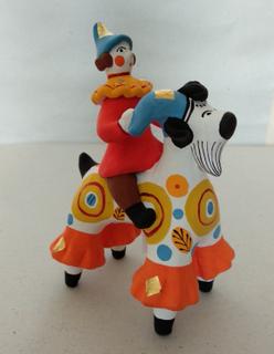 Dymkovskaya earthenware toy Rider on a goat