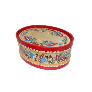 "Wooden box with lid ""Uftyuzhskaya painting"" oval 12 cm"