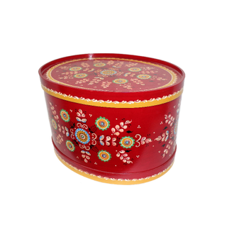 "Wooden box with lid ""Shenkurskiy red painted"" oval 17.5 cm"