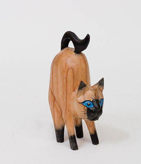 "Wooden statuette ""a Cat with blue eyes"" 15 cm"