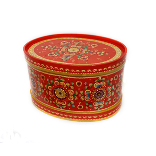 "Wooden box with lid ""Shenkurskiy red painted"" oval 20.5 cm"