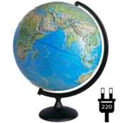 Earth globe physical relief with backlighting