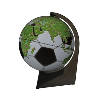 Souvenir football globe with a diameter of 210 mm on a triangular stand