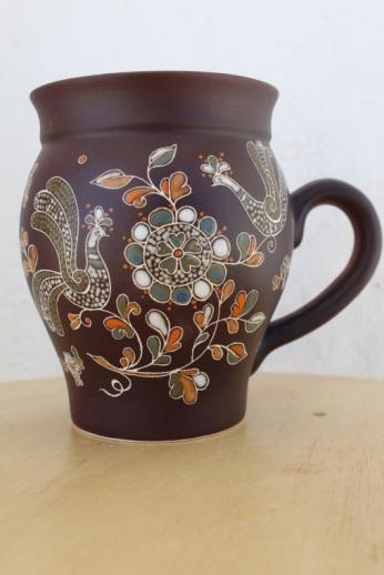 "Mug brew ceramic painted series ""Petushki"""